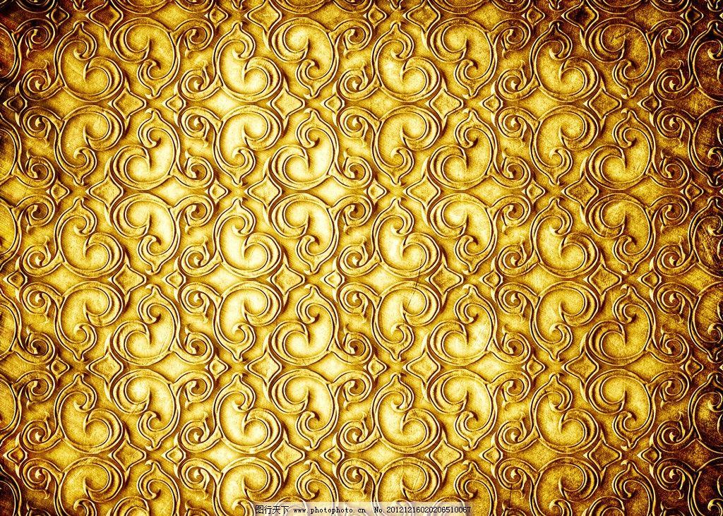 金色凹凸背景 底纹 装饰图案 浮雕花纹 欧式 华丽 花边 金黄色浮雕