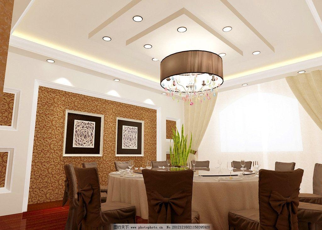 酒店包间 酒店 包间 餐厅        餐桌 装饰画 吊顶 3d作品 3d设计图片