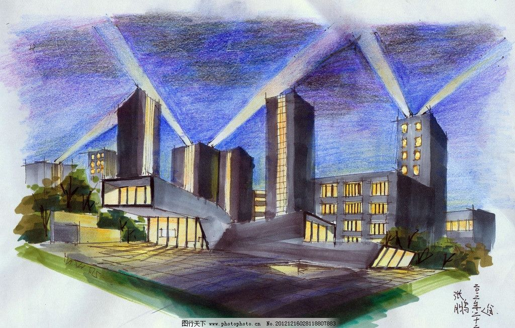 手绘夜景 手绘图 建筑
