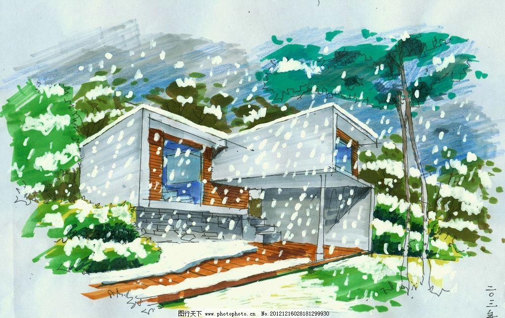 手绘雪景图 手绘图 环艺设计 建筑 下雪 绿化 植物 树 景观 雪景图