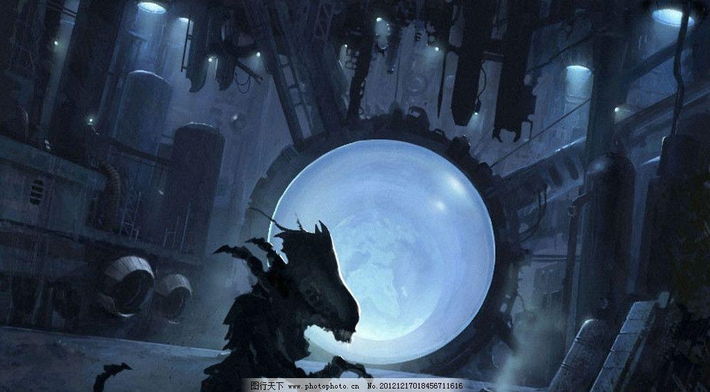手绘插画 手绘 风景 插画 场景 室内 科幻 怪物 机械 风景漫画 动漫