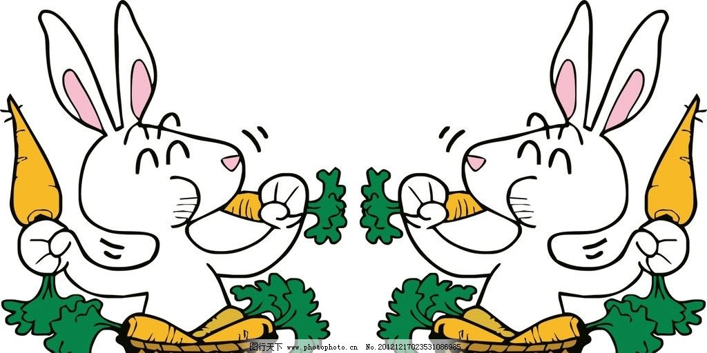 小白兔卖萝卜 可爱 矢量 卡通 矢量人物