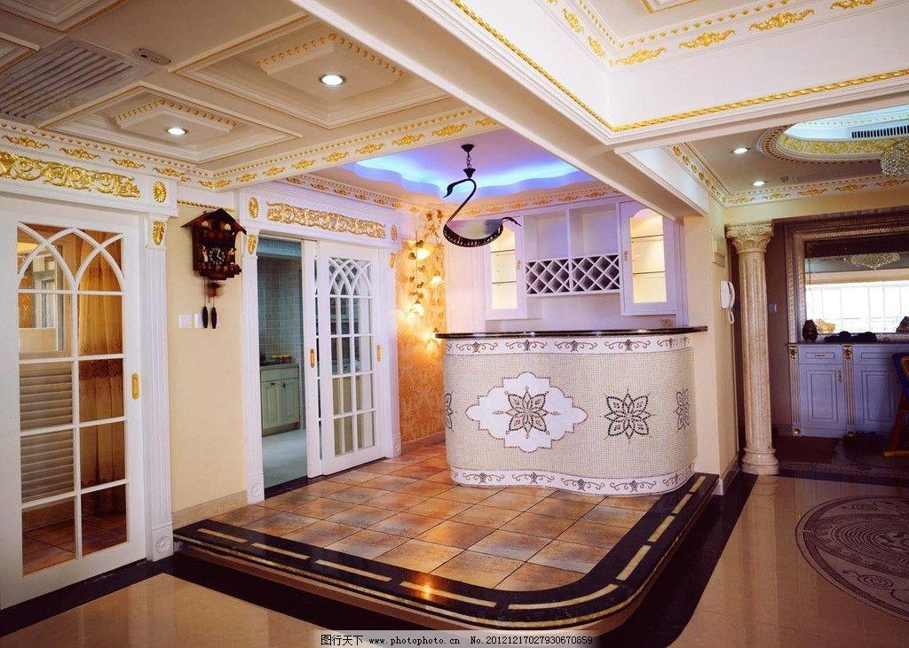 室内吧台 装饰装修 效果图 会客厅 欧式 欧式吊顶