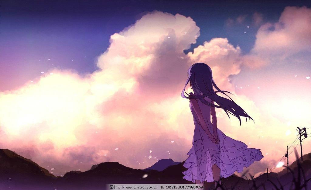 动漫少女 动漫人物 动漫 女性 女孩 背影 仰望 天空 背景 夕阳 云朵