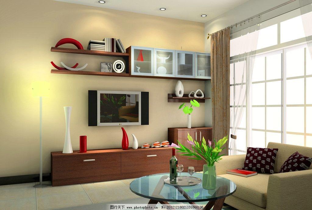 客厅电视柜 玻璃桌 沙发 电视机 音响 书架 书本 书籍