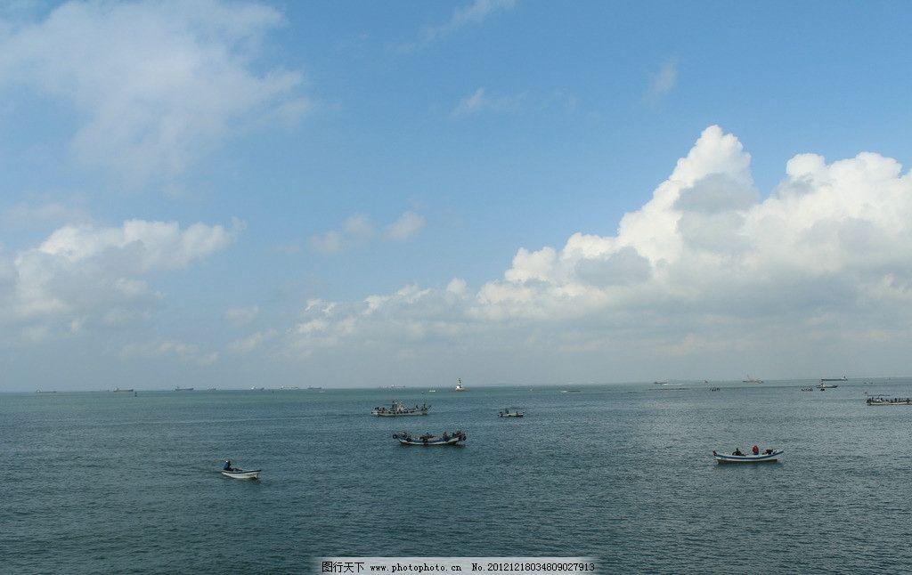蓝天白云 摄影素材 青岛大海 海上风光 广阔海岸 蔚蓝天空 宁静的大海