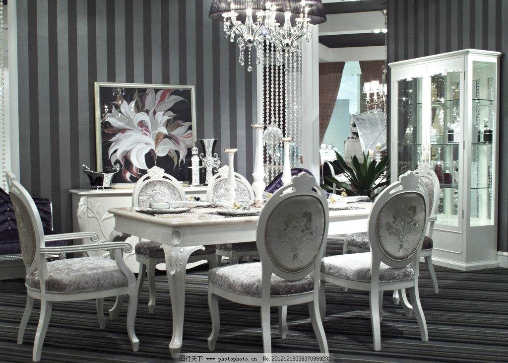 欧式餐厅 吊灯 欧式别墅 别墅内景 室内装潢 室内设计 餐具 室内摄影