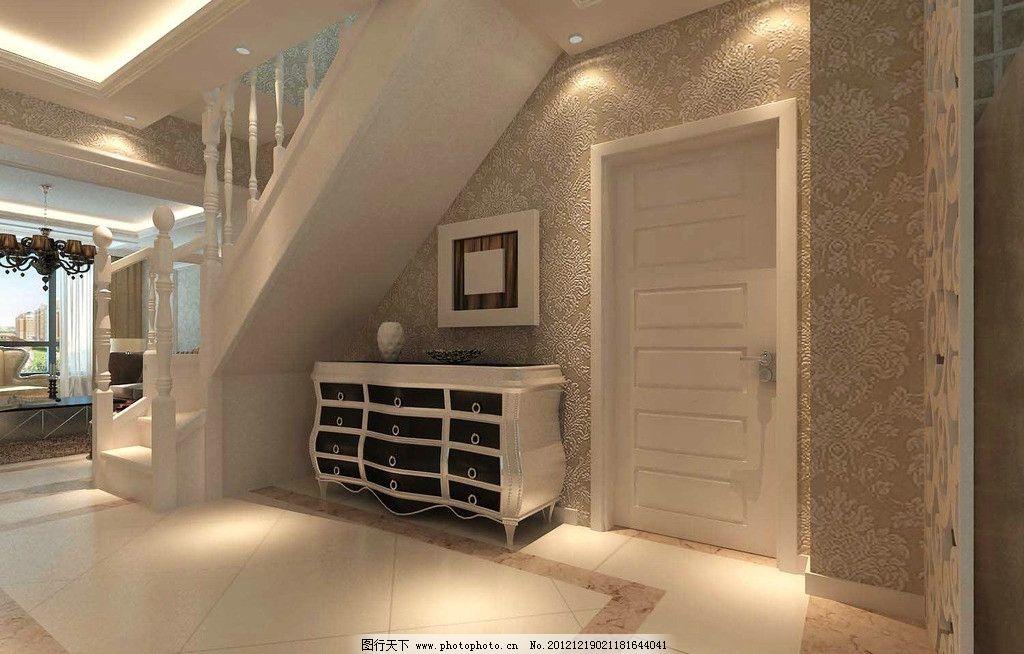 过廊效果图 欧式风格 入户 鞋柜 吊顶 壁纸 地面 石膏线条 绥中效果图图片