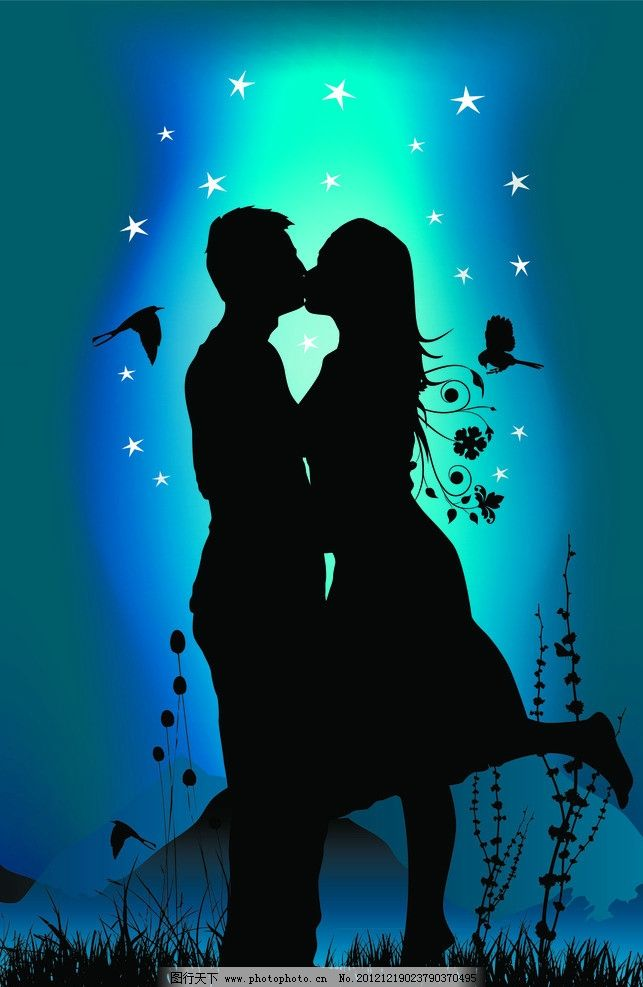 量情侣 接吻 矢量人物 星空 矢量情侣 人物矢量素材 妇女女性