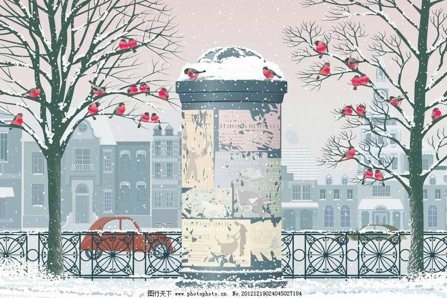 冬天手绘雪景古风