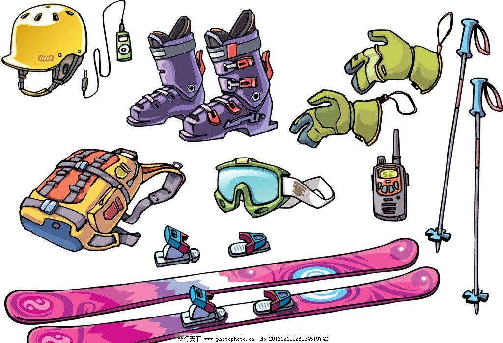 运动 体育 滑雪设备 手套 防护装备 溜冰鞋 休闲娱乐 生活百科 矢量