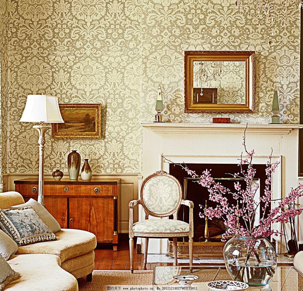 墙纸世界 欧式家居 背景 灯 墙纸 壁纸 欧式 金色 花纹 背景墙 壁炉
