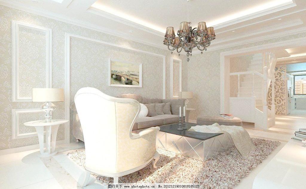 客厅效果图欧式风格 欧式风格      沙发背景 吊顶 沙发 地面 石膏