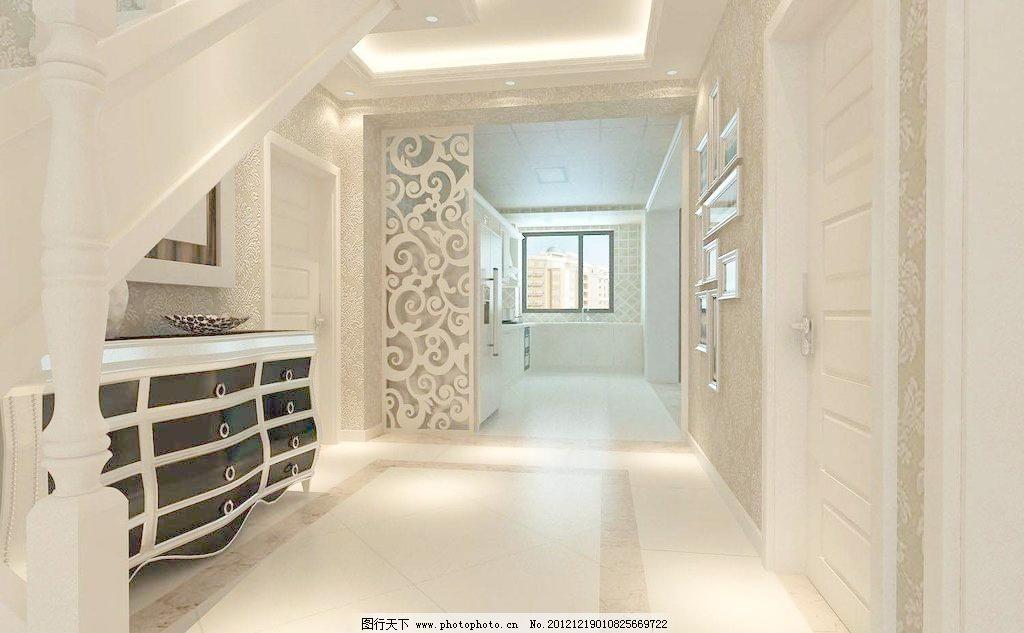 欧式风格 过廊 雕花 吊顶 鞋柜 地面 石膏线条 绥中效果图 3d作品 3d