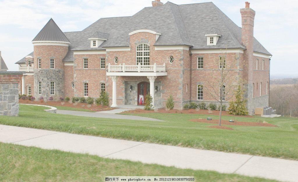 欧式建筑 欧洲 欧式 建筑 房屋 别墅 洋楼 洋房 住宅 阳台 烟囱 草坪