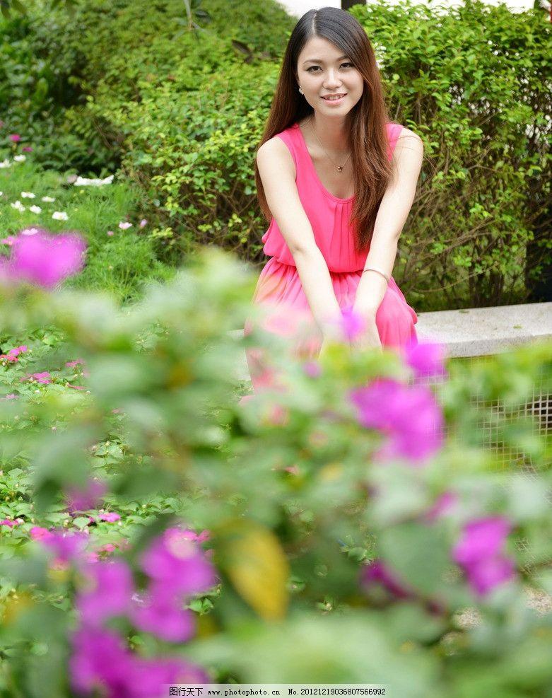 靓丽时光 清纯 气质 可爱 端庄 美女 漂亮 红裙 公园外拍 绿树 美女