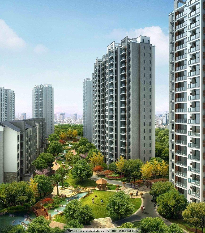 中式住宅效果图 中式住宅透视图 房屋 住宅 高楼 高层 树 水池 建筑