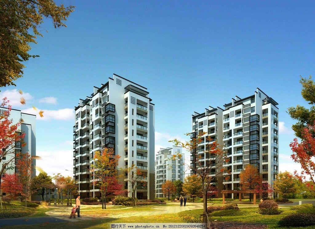 建筑设计  中式住宅效果图 中式 住宅透视图 房屋 住宅 高楼 高层 树