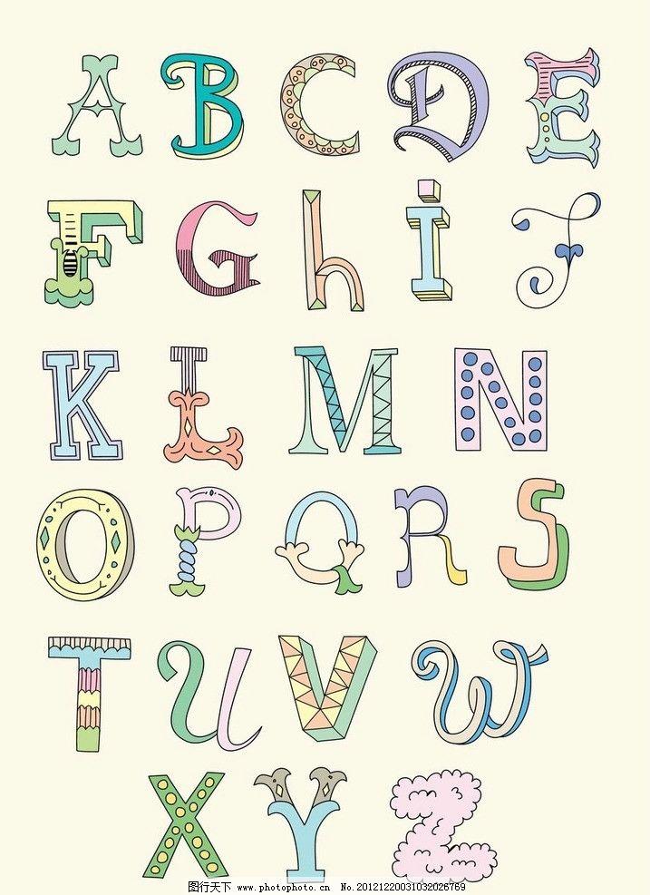 卡通字母 可爱 卡通 字母 拼音 英文 字体 装饰 设计 素材 时尚 潮流图片