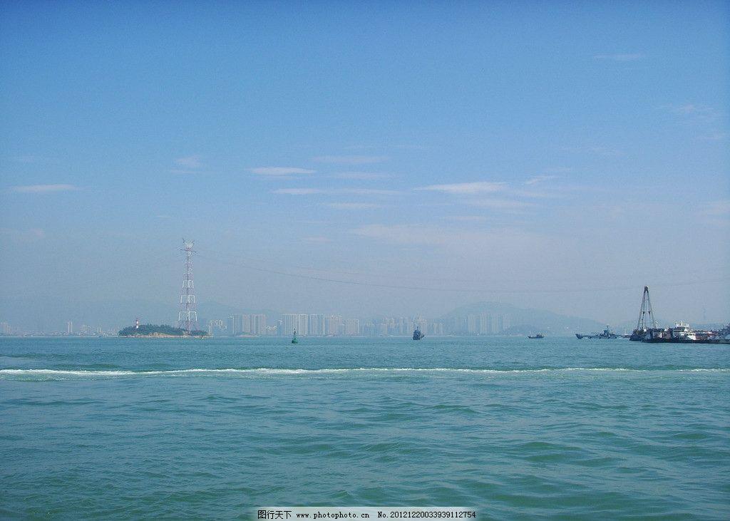 海上風景 藍天白云 廈門 旅游 風光 風景 海浪 燈塔 海島 海水 建筑
