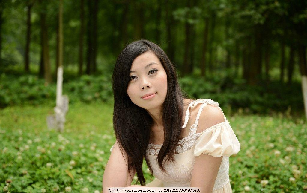 清纯美女 气质美女 可爱美女 小清新 绿树 青草 美女外拍 长发美女