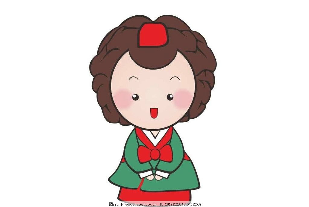 韩国卡通矢量女 韩国 韩服 卡通女 矢量卡通女 红绿色韩服 大长今