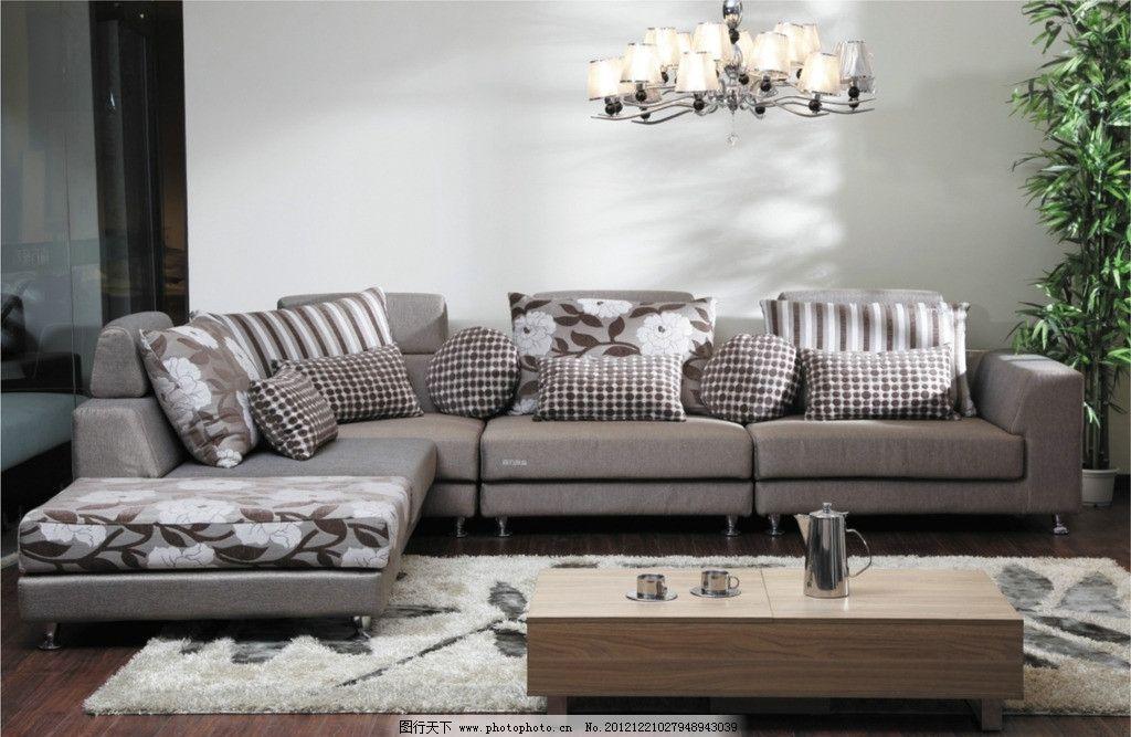 布艺沙发系列 浅色系列沙发 吊灯 室内竹子 不锈钢茶壶 茶杯 室内设计