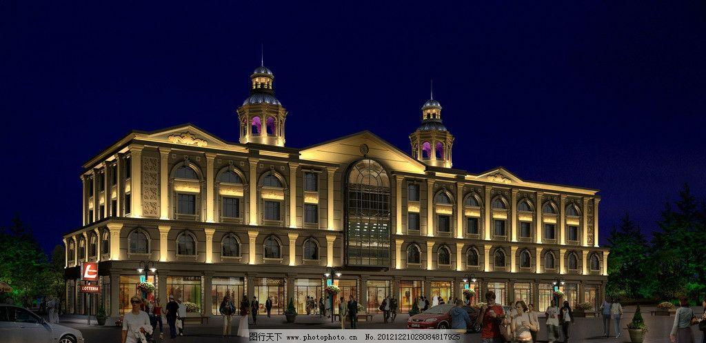 欧式建筑夜景效果图 欧式 建筑 夜景        旅舍 灯光 亮化 建筑设计