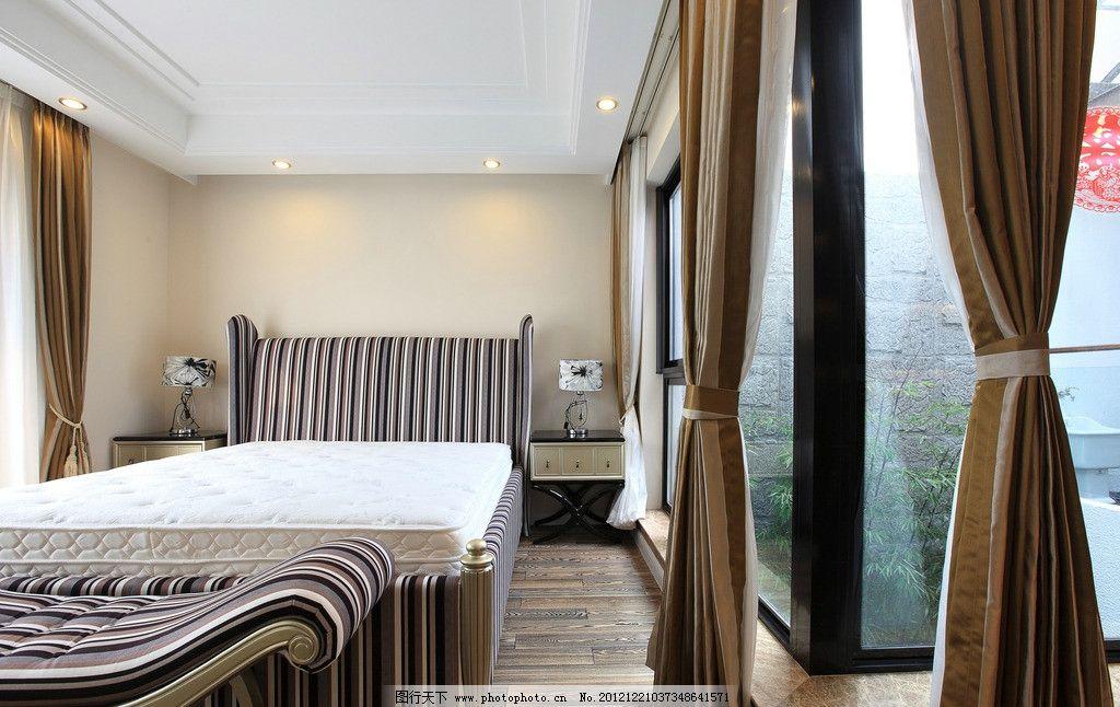 软装 窗帘 木地板 床垫 台灯 床头柜 样板间 现代欧式室内装修 精装房