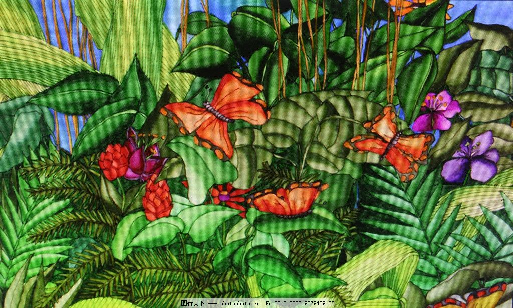 热带植物绘画 热带 植物 绘画 热带植物 油画 手绘 绿叶 花 热带风情