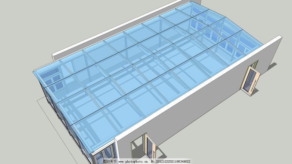 高清阳光房效果图 全景 俯视 门 玻璃顶棚