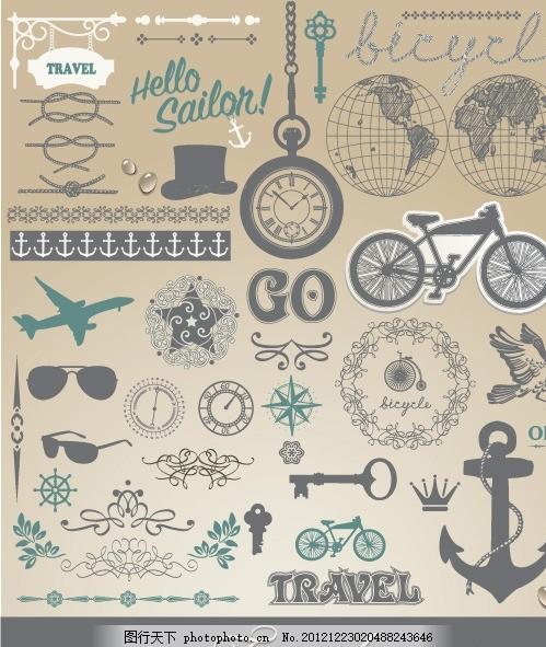 欧式古典花纹 复古元素 船锚 飞机 自行车 地球 钟表 花边 卡片