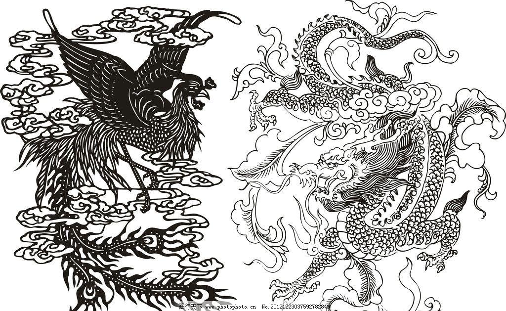 龙 双龙 单色龙 黑白龙图片