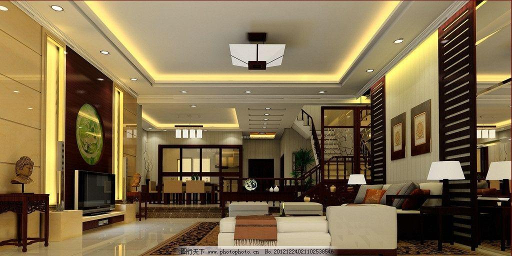 精裝別墅客廳 別墅      簡中 中式 實木 背景墻 吊燈 電視墻 3d作品