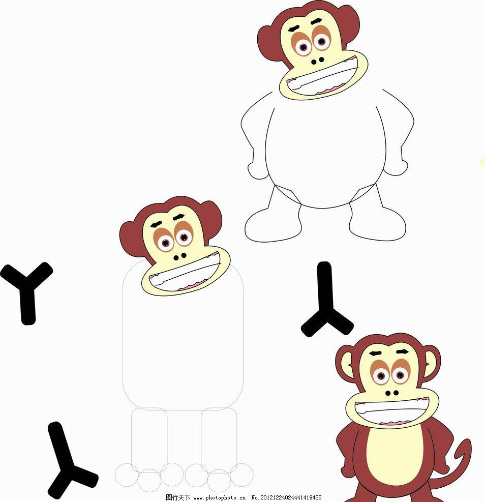 手画卡通猴子 野生动物 生物世界 矢量 cdr