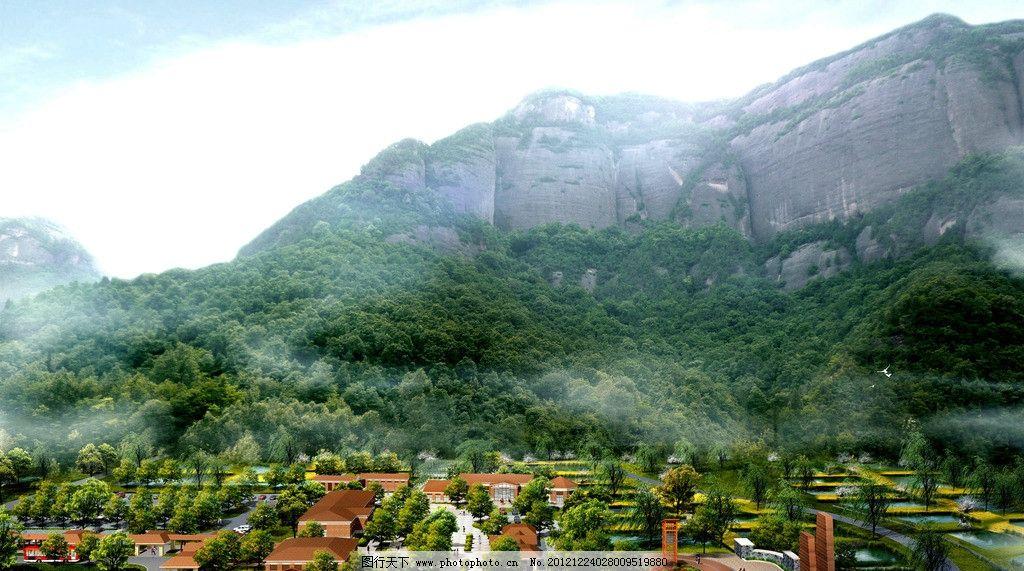 景区入口鸟瞰 景区 入口 服务区 鸟瞰 欧式 风格 山水为依 建筑 景观