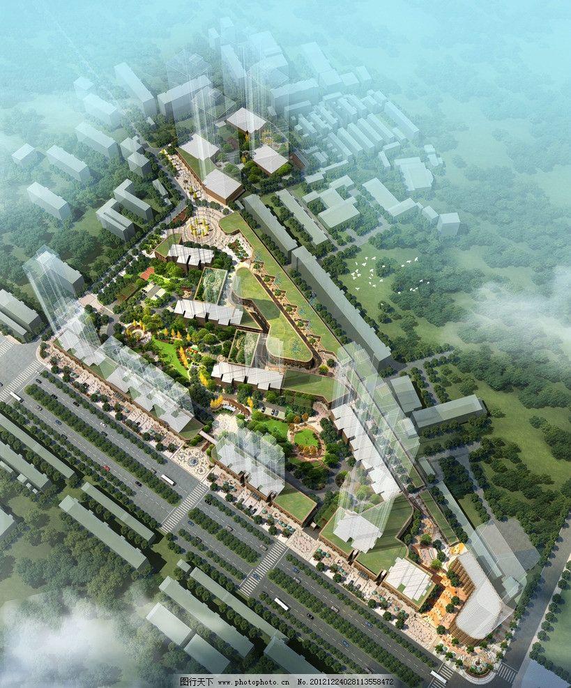 住宅商业鸟瞰图 小区 住宅 景观 绿化 植物 鸟瞰 商业 功能布局 景观