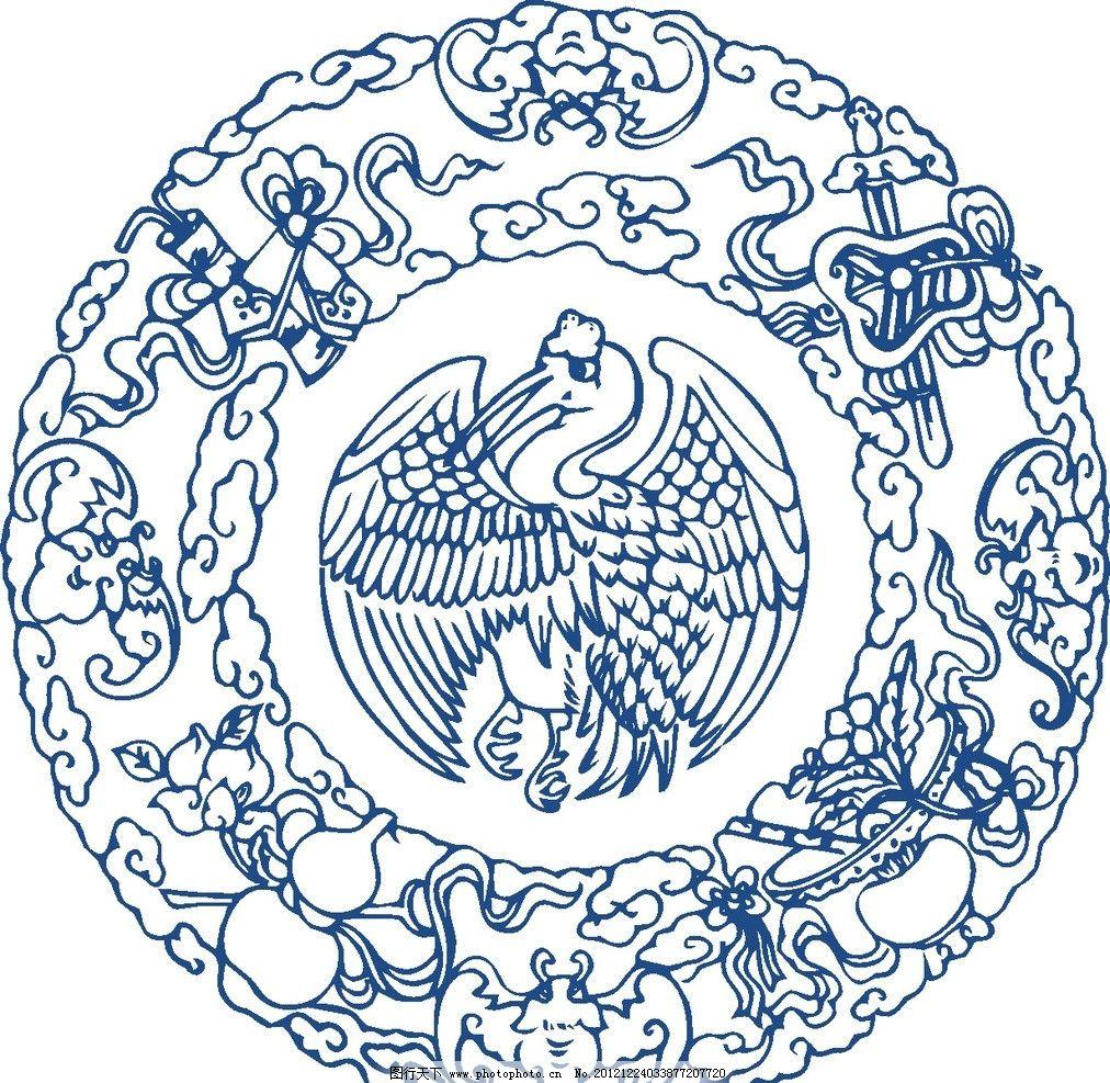 纹样青花瓷图片手绘-仙鹤 纹样