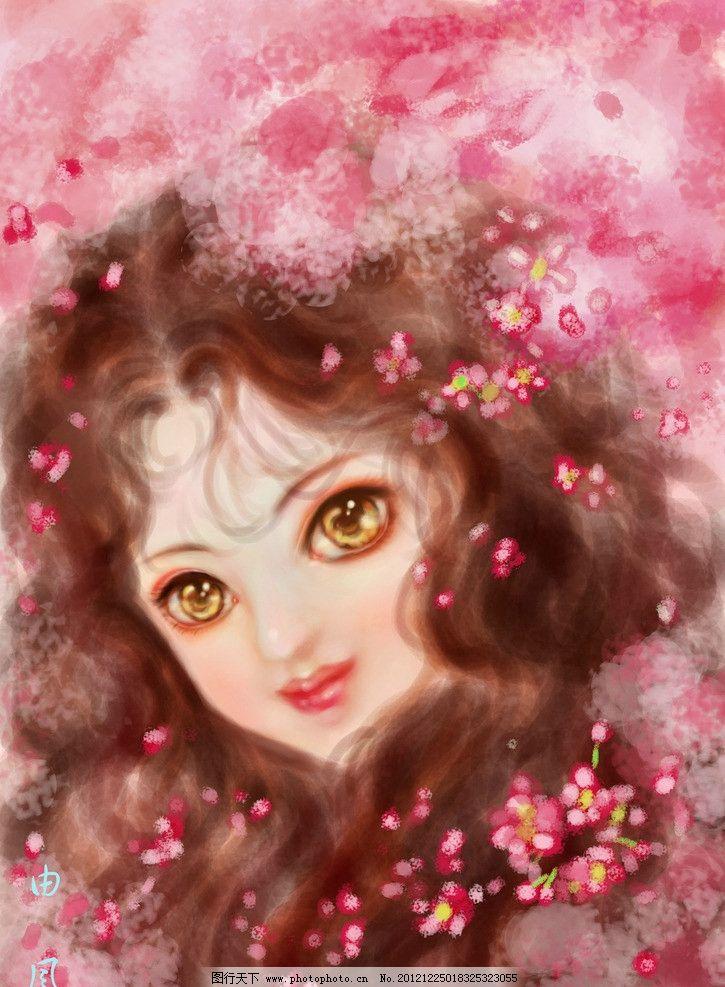 设计图库 动漫卡通 动漫人物  唯美女孩 唯美 女孩 美女 浪漫 花瓣