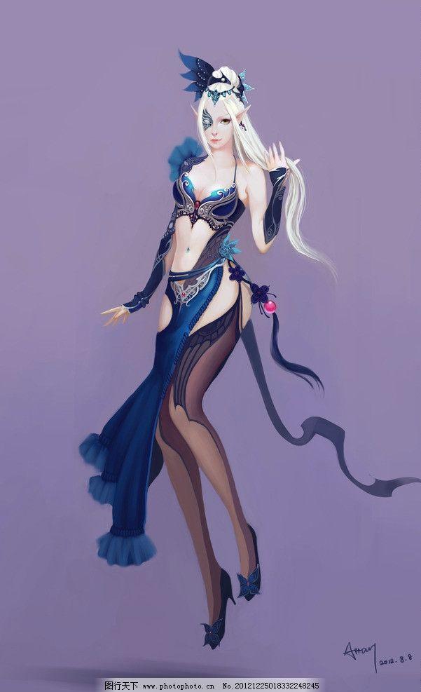 cg角色 角色 cg 手绘 绘画 美女 性感 黑丝 丝袜 美丽 艳丽 紫色 白发