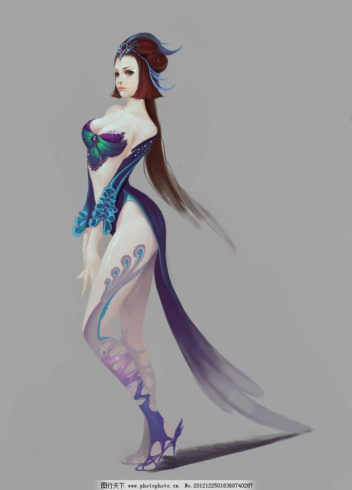 cg角色图片,手绘 绘画 美女 性感 美丽 艳丽 紫色-图