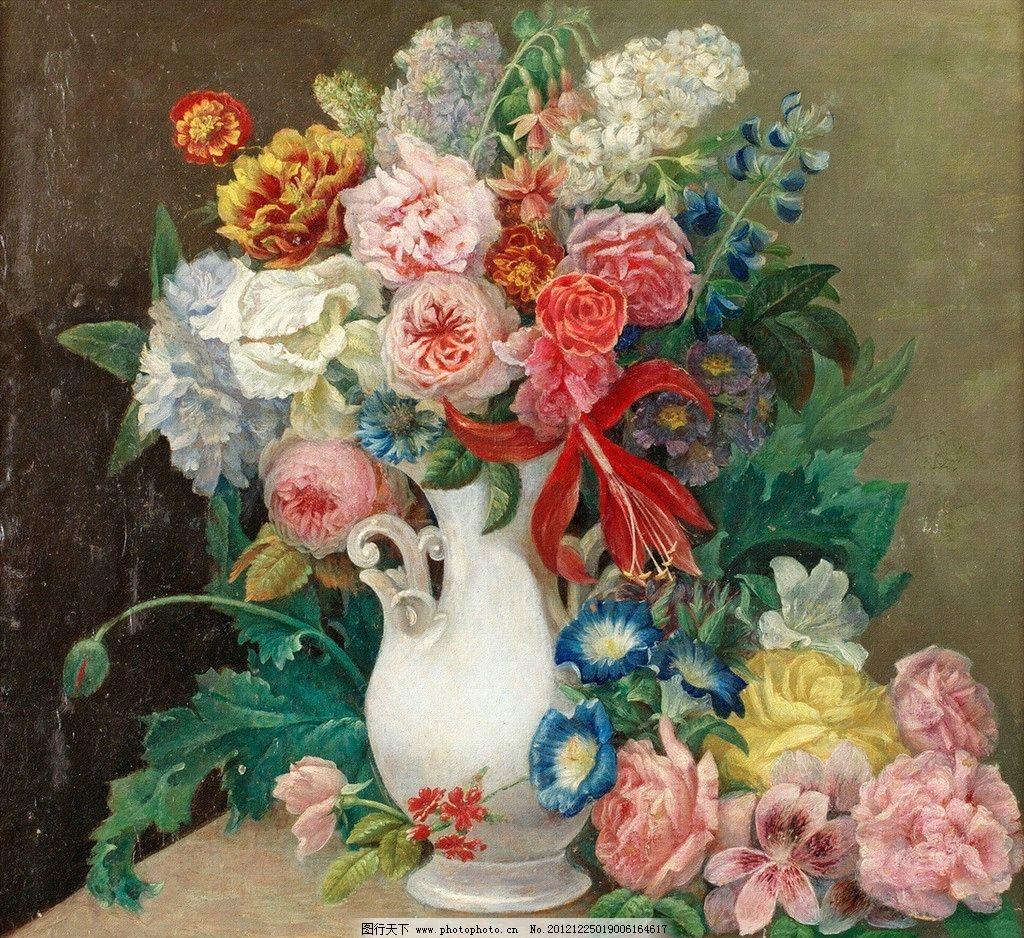 装饰画 油画 浪漫 温馨 花 花朵 花卉 花瓶 素雅 典雅 花瓣 叶子 清新