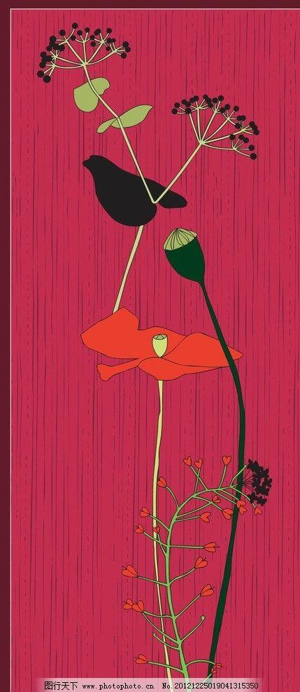 红底手绘莲花图案图片