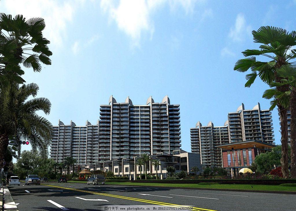 现代住宅楼 楼房 住宅 小区 建筑 街道 建筑设计 高层 3d作品 3d设计