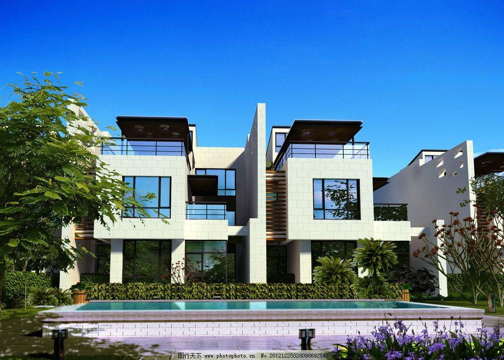 建筑表现 建筑设计 高端住宅区 欧式豪宅 别墅建筑 现代建筑 建筑外观