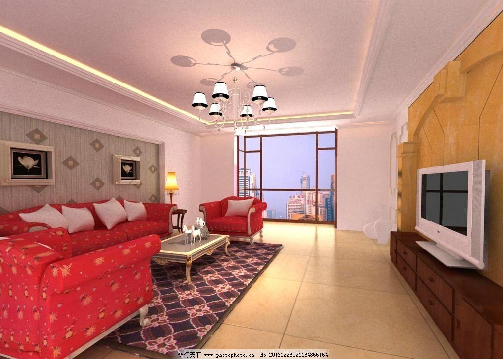 欧式客厅 家装模型 沙发 电视背景墙 吊顶 镜子 设计 3dmax 欧式 室内