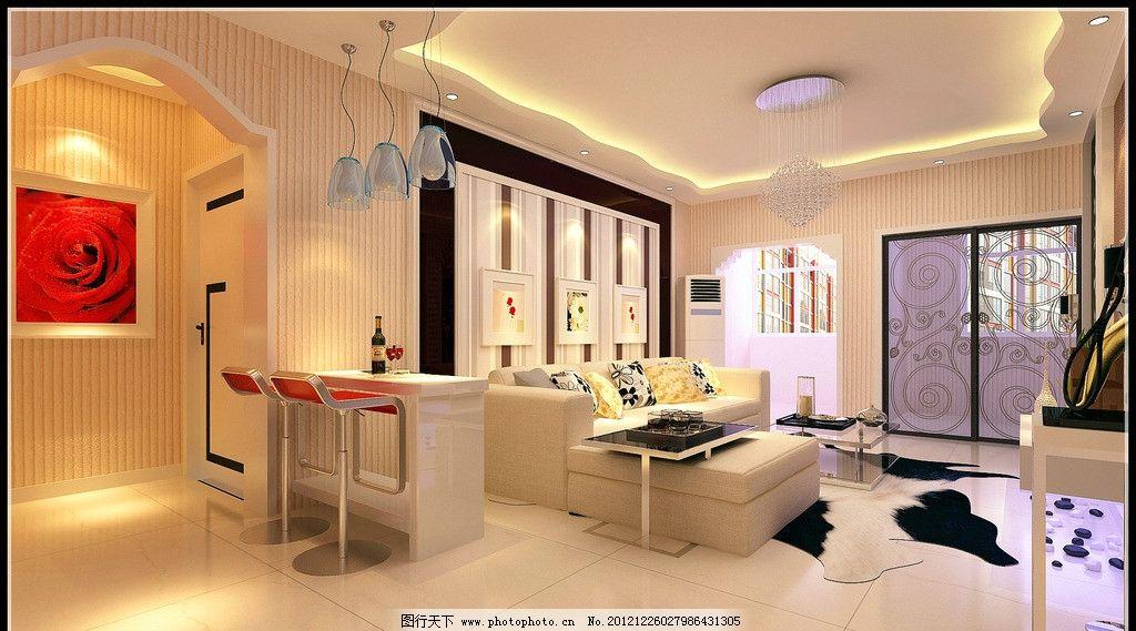 家装客厅效果图      沙发背景墙 门厅 吧台 吊灯 室内设计 环境设计
