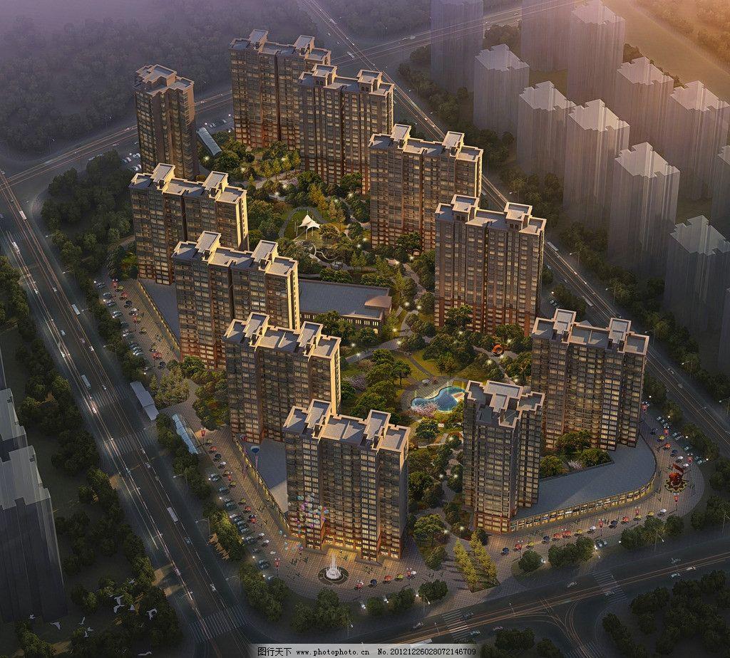 房地产项目 高层 住宅 建筑 设计 景观 小区 黄昏 灯光 景观规划 鸟瞰