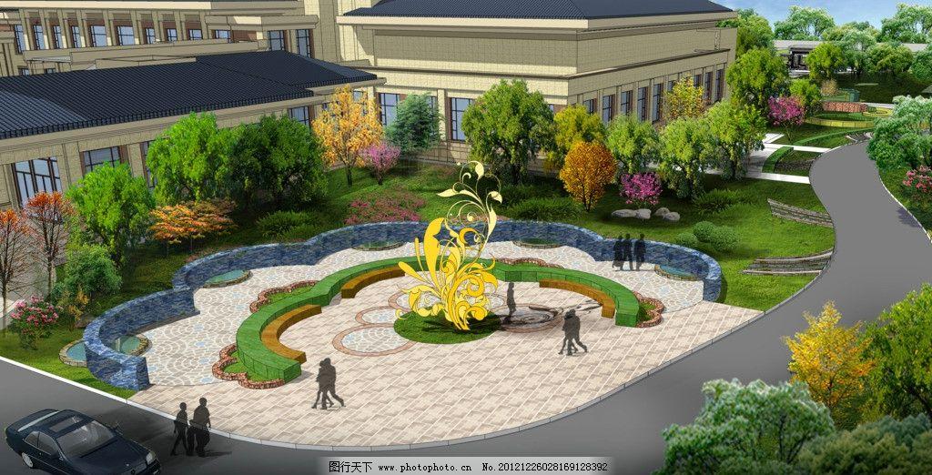 景观节点效果图        植物素材 景观小品 景观设计 环境设计 源文