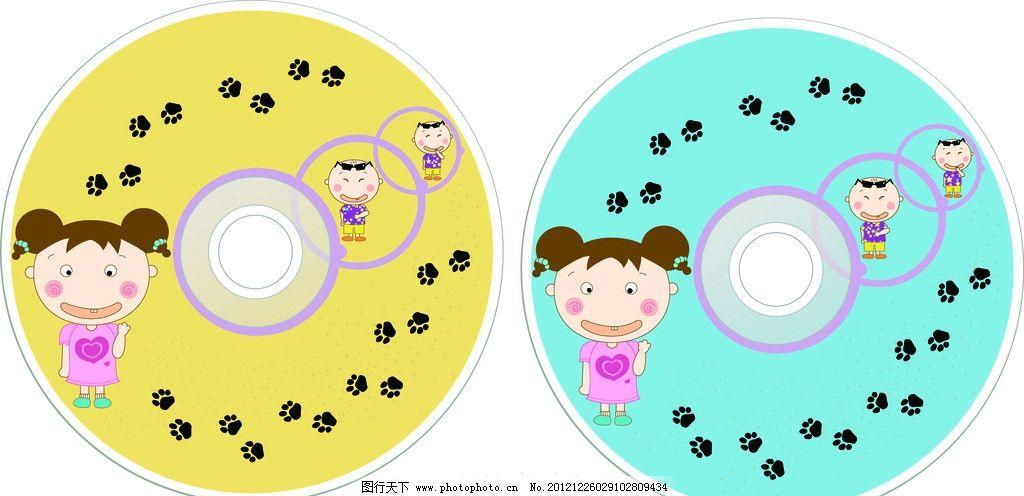 儿童cd光盘设计 小孩 脚丫 可爱 分层 矢量